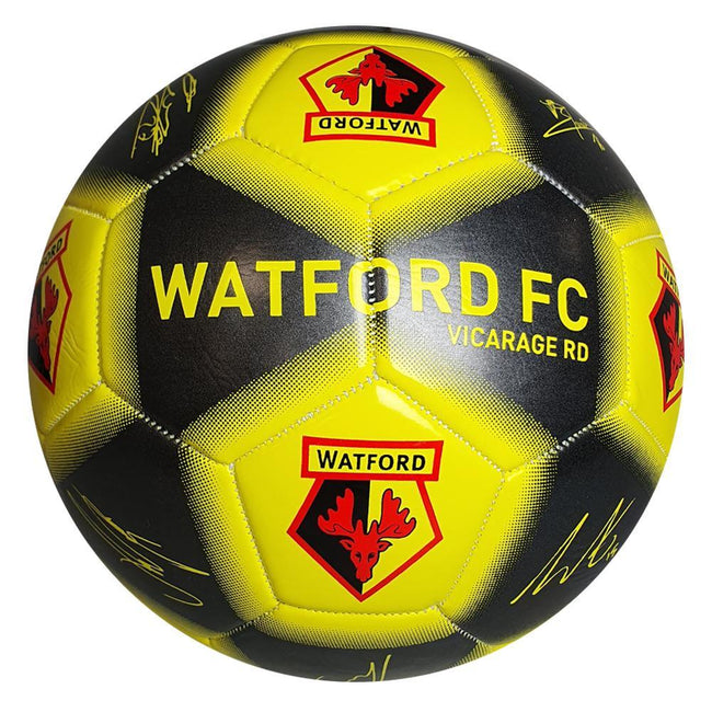 Black-Yellow - Front - Watford FC Player Printed Signature Signed Football