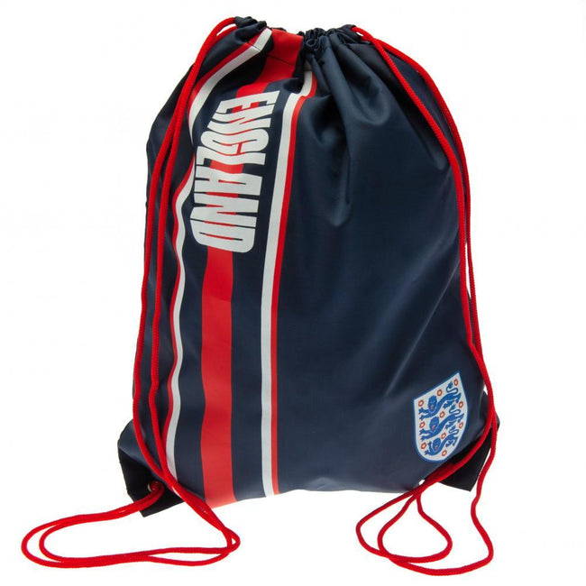 Navy-Red - Front - England FA Stripe Drawstring Bag