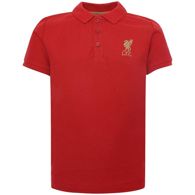 Red - Front - Liverpool FC Childrens-Kids Polo Shirt