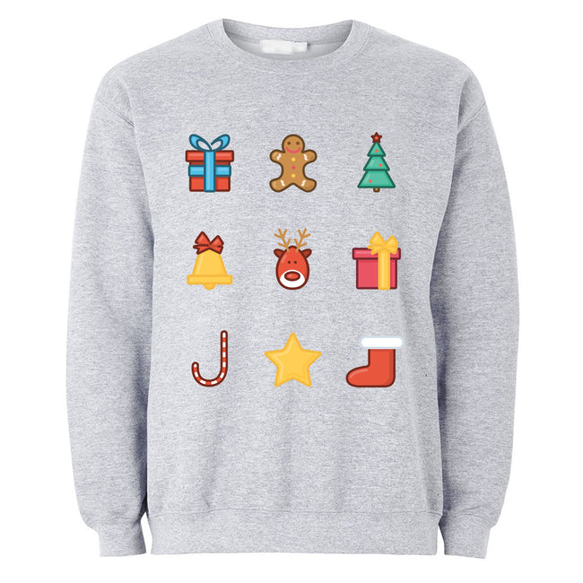 Gray - Front - The T-Shirt Factory Mens Christmas Emoji Icons Jumper