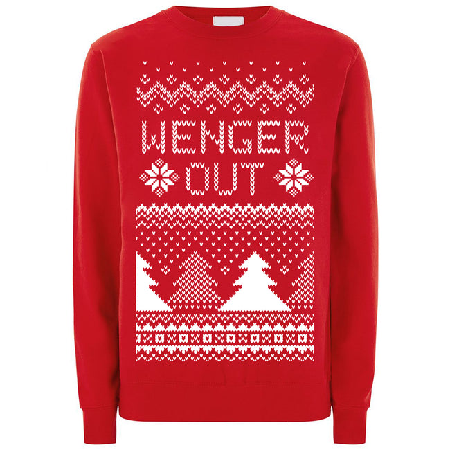 Red - Front - Cup Of Tees Unisex `Wenger Out` Christmas Jumper