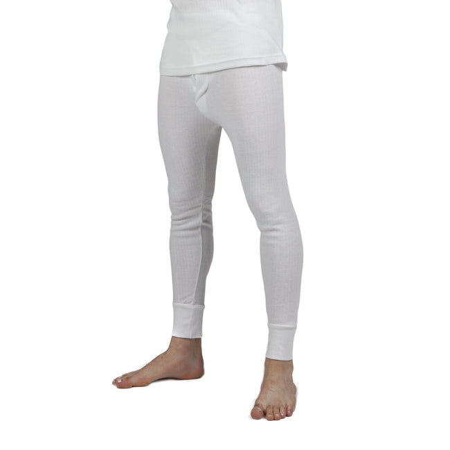 White - Front - Mens Thermal Underwear Long Johns (British Made)