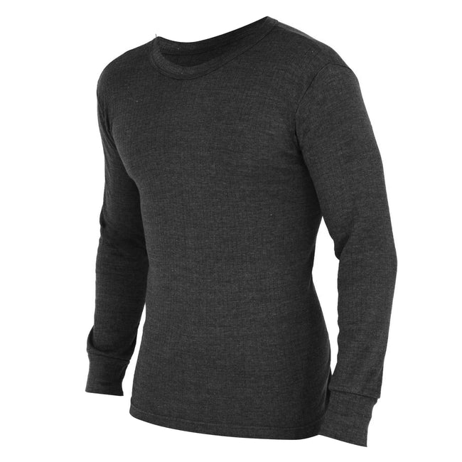 White - Front - FLOSO Mens Thermal Underwear Long Sleeve T Shirt Top (Standard Range)