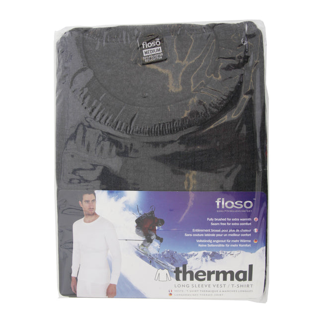White - Back - FLOSO Mens Thermal Underwear Long Sleeve T Shirt Top (Standard Range)