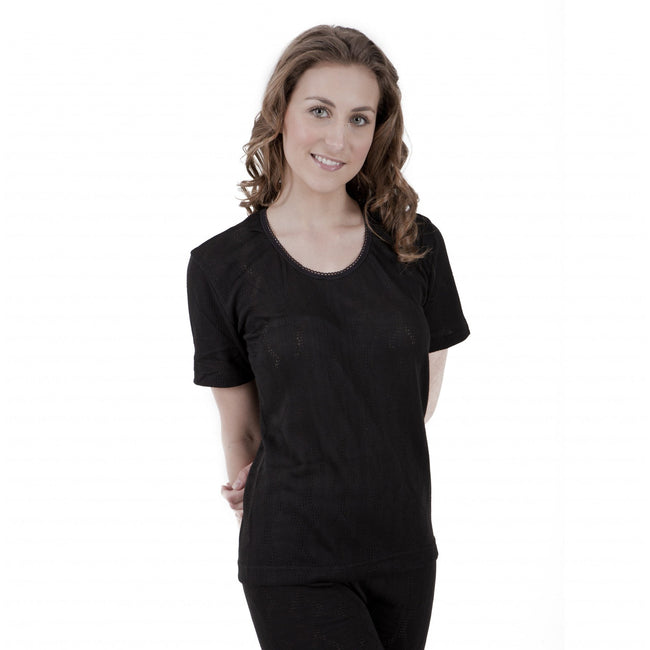 Black - Front - Ladies Thermal Wear Short Sleeve T Shirt Polyviscose Range (British Made)
