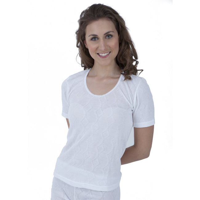White - Front - Ladies Thermal Wear Short Sleeve T Shirt Polyviscose Range (British Made)