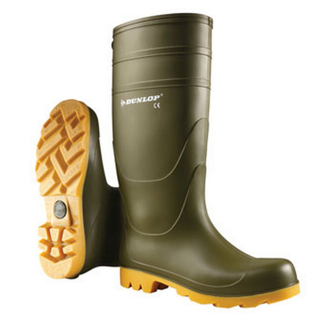 Green - Side - Dunlop Mens Unisex Universal Wellies