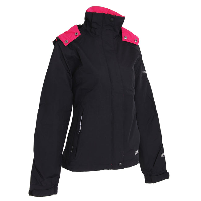 Black - Front - Trespass Womens-Ladies Florissant Hooded Waterproof Jacket