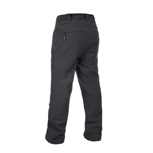 Black - Back - Trespass Mens Hemic Water Resistant Softshell Pants