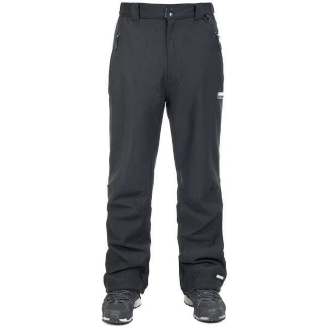 Black - Front - Trespass Mens Hemic Water Resistant Softshell Pants
