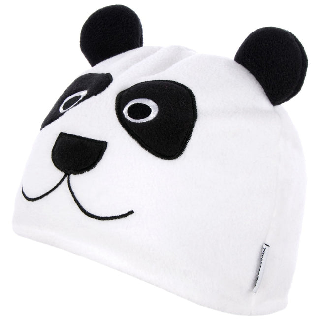 White - Front - Trespass Childrens-Kids Bamboo Panda Design Beanie Hat
