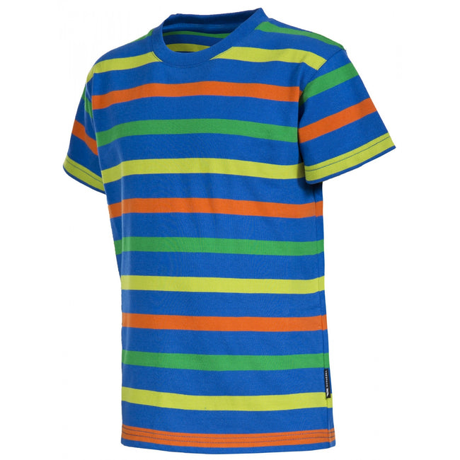 Electric Blue Stripe - Front - Trespass Childrens Boys Aled Short Sleeve Striped T-Shirts