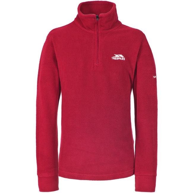 Red - Front - Trespass Childrens Boys Masonville Zip Neck Microfleece Top
