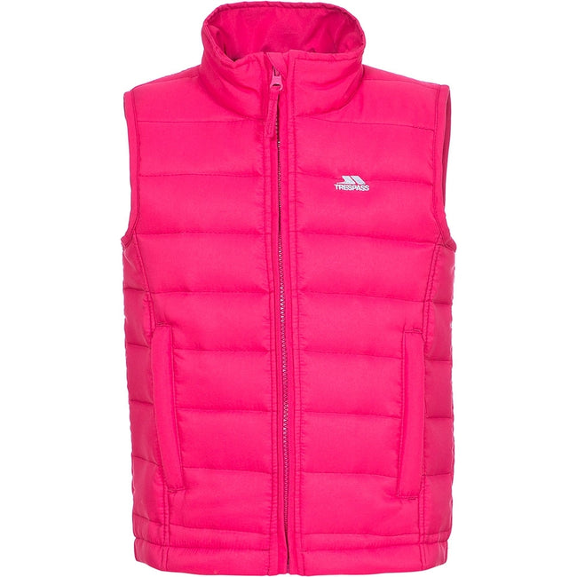 Pink Lady - Front - Trespass Childrens-Kids Jadda Quilted Sleeveless Gilet