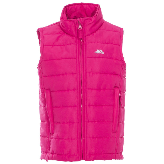 Raspberry - Front - Trespass Childrens-Kids Jadda Quilted Sleeveless Gilet