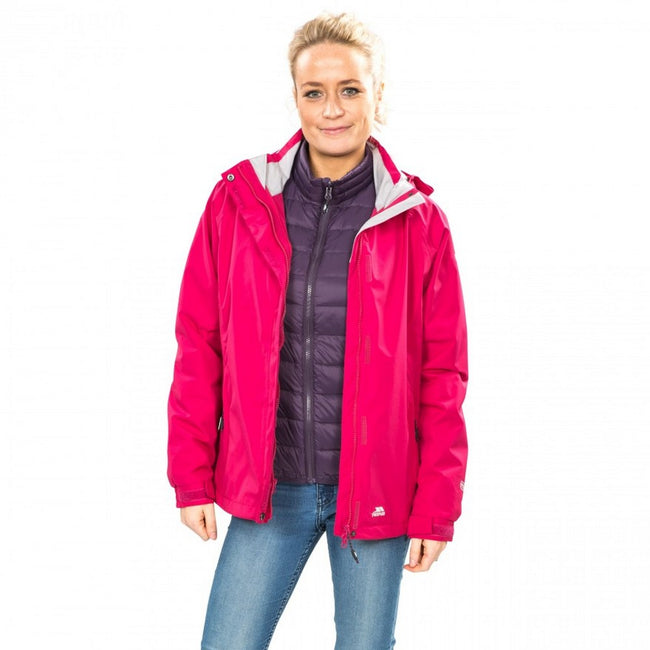 Cerise - Side - Trespass Womens-Ladies Trailwind Waterproof 3-In-1 Jacket