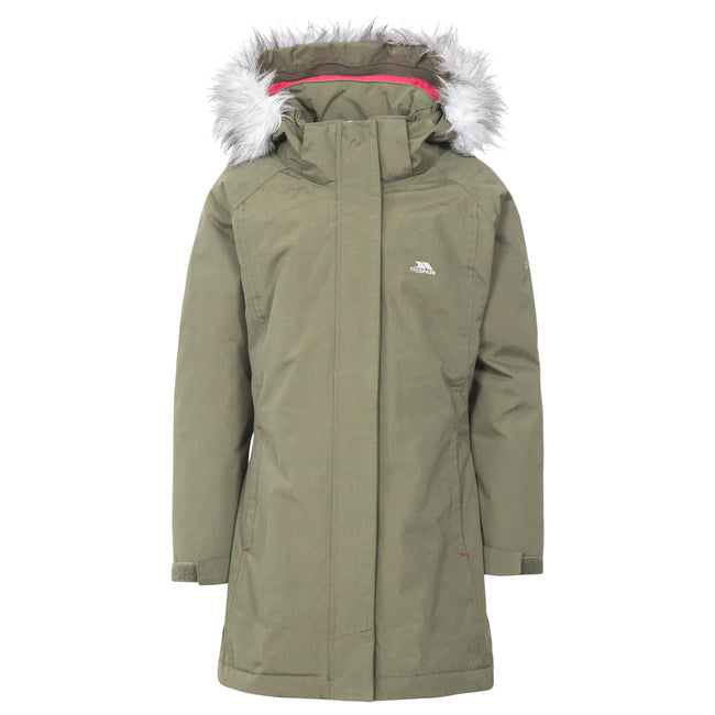 Moss - Front - Trespass Childrens Girls Fame Waterproof Parka Jacket