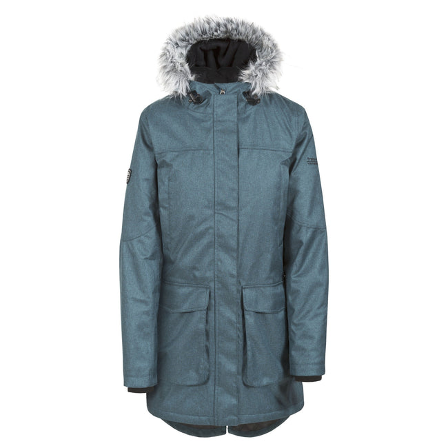 Teal-Silver Gray - Front - Trespass Womens-Ladies Thundery Waterproof Jacket