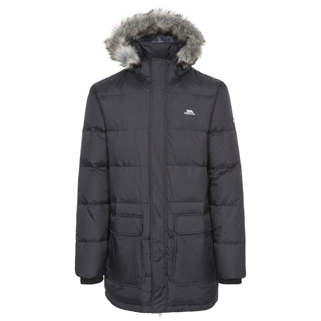 Black - Front - Trespass Mens Baird Padded Down Jacket