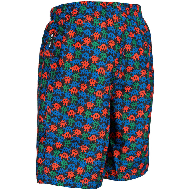Electric Blue Print - Back - Trespass Childrens Boys Gamer Swimming Shorts