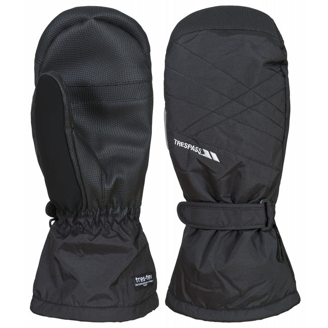 Black - Front - Trespass Mens Ikeda II Ski Mitt Gloves