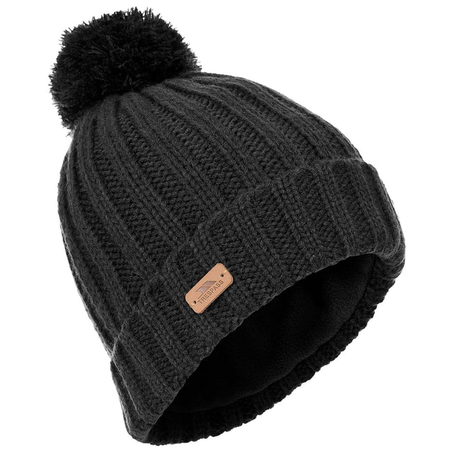 Black - Front - Trespass Mens Thorns Beanie Hat