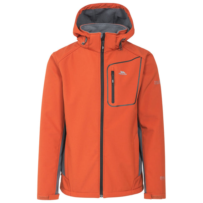 Burnt Orange - Front - Trespass Mens Strathy II Softshell Jacket