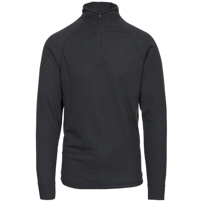 Black - Front - Trespass Adults Unisex Wise360 Quick Dry Base Layer Top