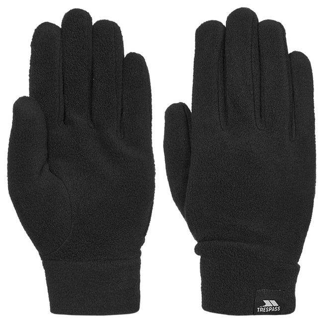 Black - Front - Trespass Mens Gaunt II Fleece Gloves