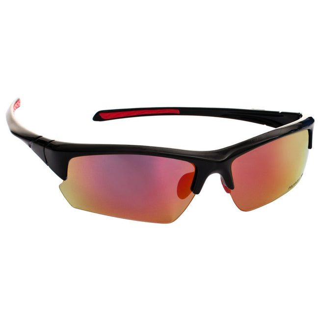 Black - Front - Trespass Adults Unisex Falconpro Red Mirror Sunglasses