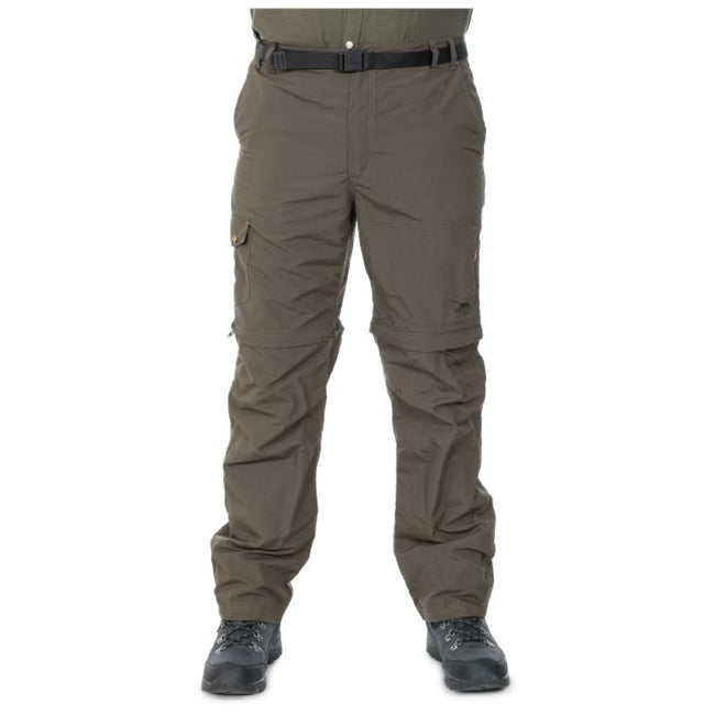 Olive - Front - Trespass Mens Rynne Moskitophobia Hiking Trousers