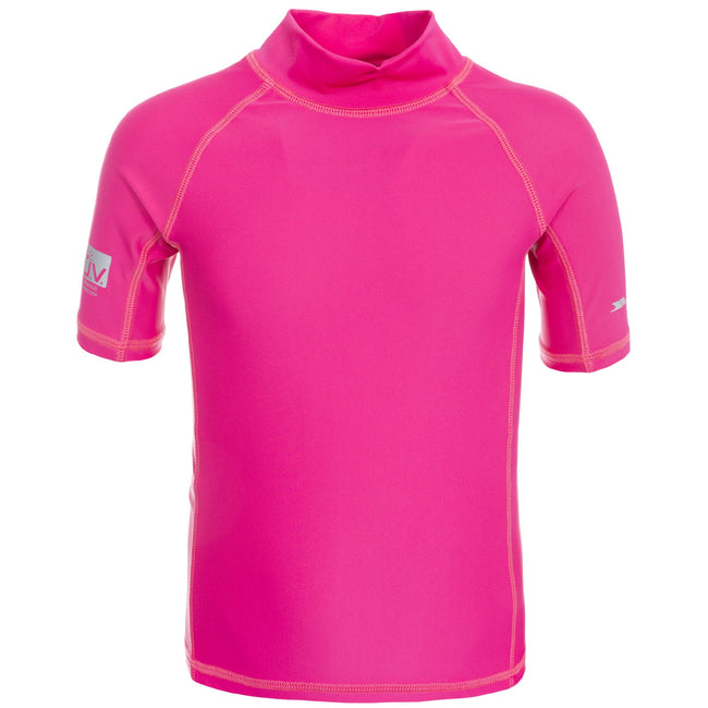 Pink Lady - Front - Trespass Childrens-Kids Crew Rash Guard Top