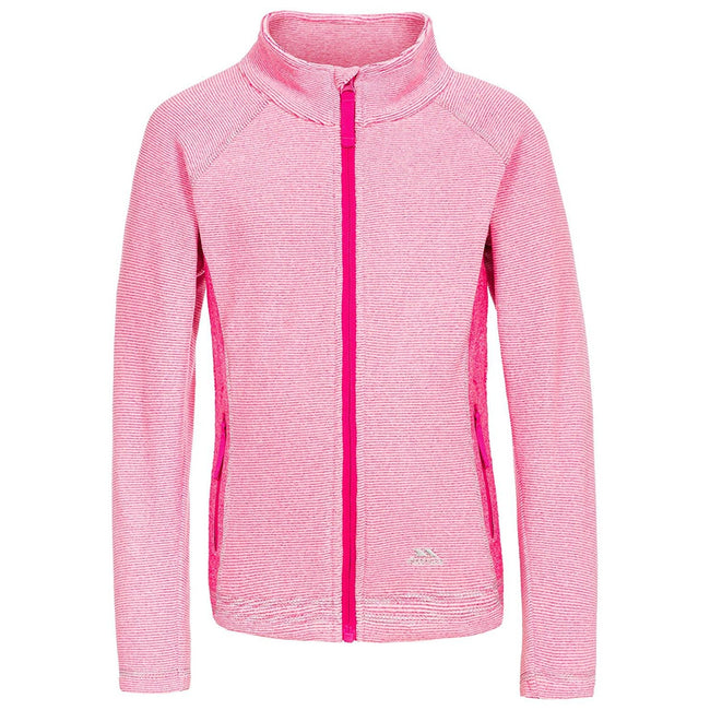 Pink Lady Stripe - Front - Trespass Childrens-Kids Bunker Fleece Jacket