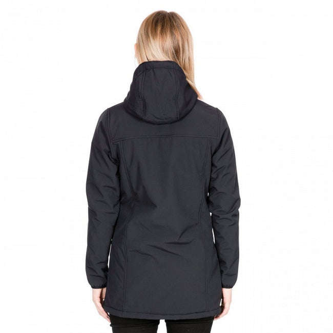 Black - Side - Trespass Womens-Ladies Kristen Longer Length Hooded Waterproof Jacket