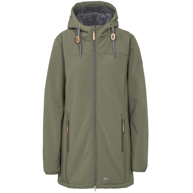 Moss - Front - Trespass Womens-Ladies Kristen Longer Length Hooded Waterproof Jacket