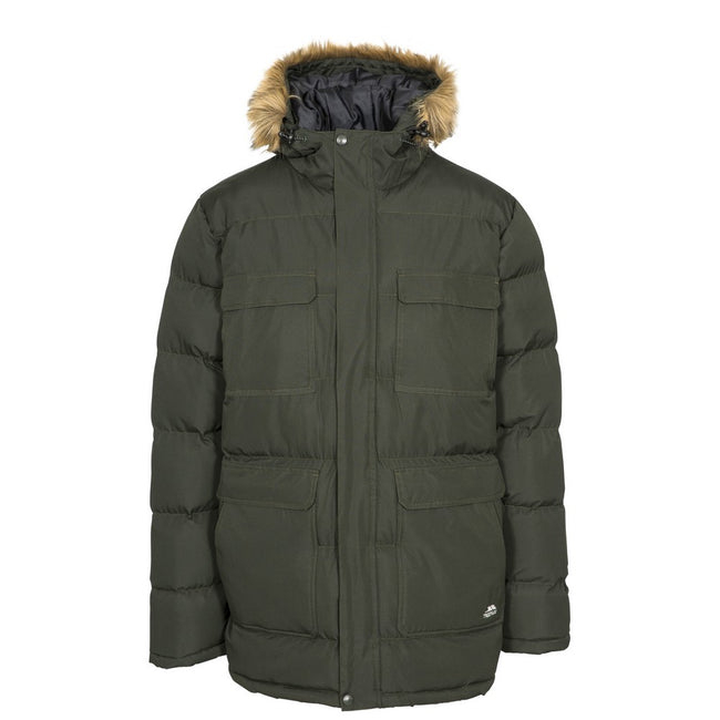 Olive - Front - Trespass Mens Baldwin Padded Waterproof Jacket