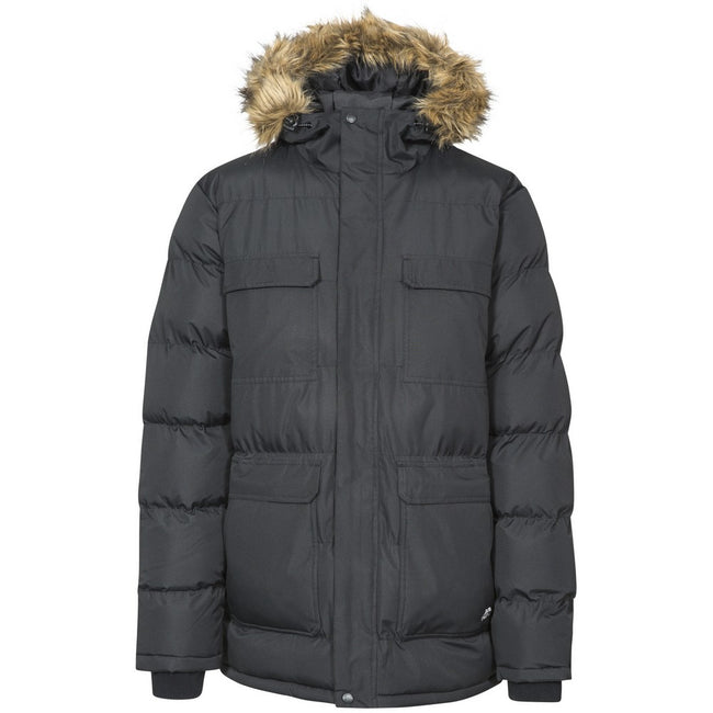 Black - Front - Trespass Mens Baldwin Padded Waterproof Jacket