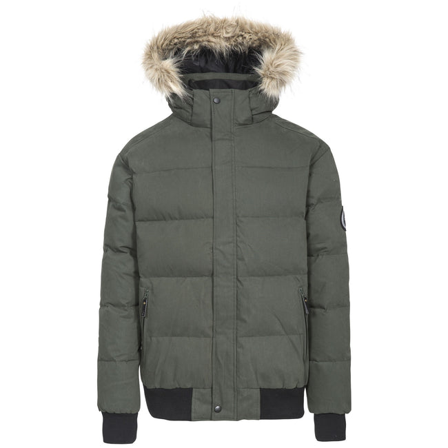 Olive - Front - Trespass Mens Calgary DLX Down Jacket