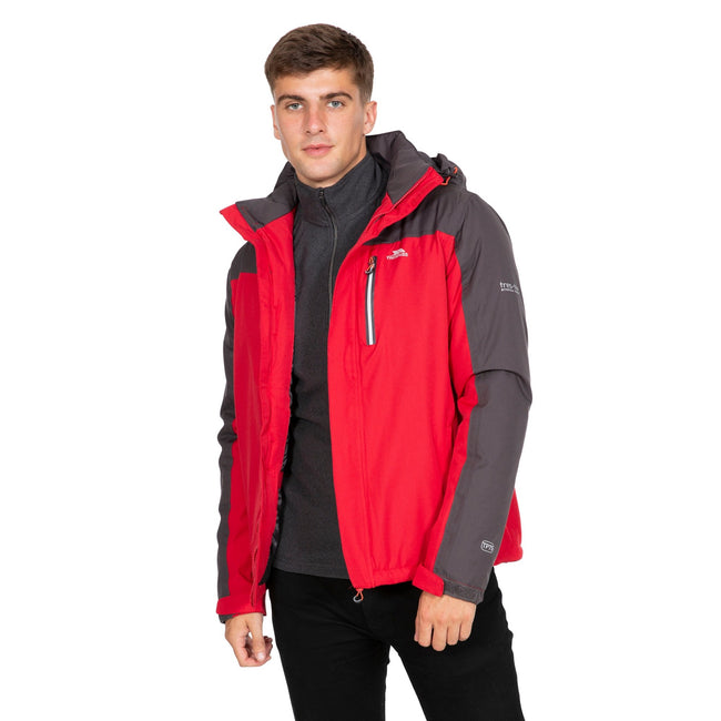 Red - Side - Trespass Mens Tolsford Waterproof Jacket
