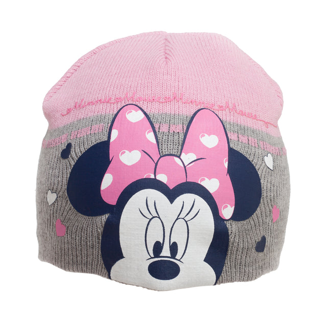 Gray - Side - Minnie Mouse Childrens-Kids Love Heart Beanie Hat And Mitten Set