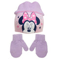 Pink - Front - Minnie Mouse Childrens-Kids Love Heart Beanie Hat And Mitten Set