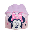 Pink - Side - Minnie Mouse Childrens-Kids Love Heart Beanie Hat And Mitten Set