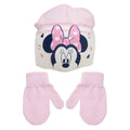 Cream - Front - Minnie Mouse Childrens-Kids Love Heart Beanie Hat And Mitten Set