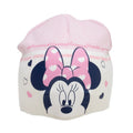 Cream - Side - Minnie Mouse Childrens-Kids Love Heart Beanie Hat And Mitten Set