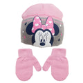 Gray - Front - Minnie Mouse Childrens-Kids Love Heart Beanie Hat And Mitten Set