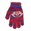 Navy-Red - Back - Spider-Man Childrens-Kids Striped Beanie Bobble Hat And Gloves Set