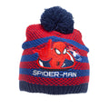 Navy-Red - Side - Spider-Man Childrens-Kids Striped Beanie Bobble Hat And Gloves Set