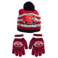 White-Red - Front - Spider-Man Childrens-Kids Striped Beanie Bobble Hat And Gloves Set