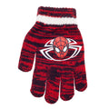 White-Red - Back - Spider-Man Childrens-Kids Striped Beanie Bobble Hat And Gloves Set