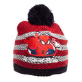 White-Red - Side - Spider-Man Childrens-Kids Striped Beanie Bobble Hat And Gloves Set